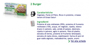 Ingredienti in burger di soia Valsoia